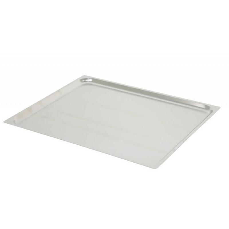 Plaques inox pleines GN2/1 à bors plats pour four à convection hauteur 20 mm