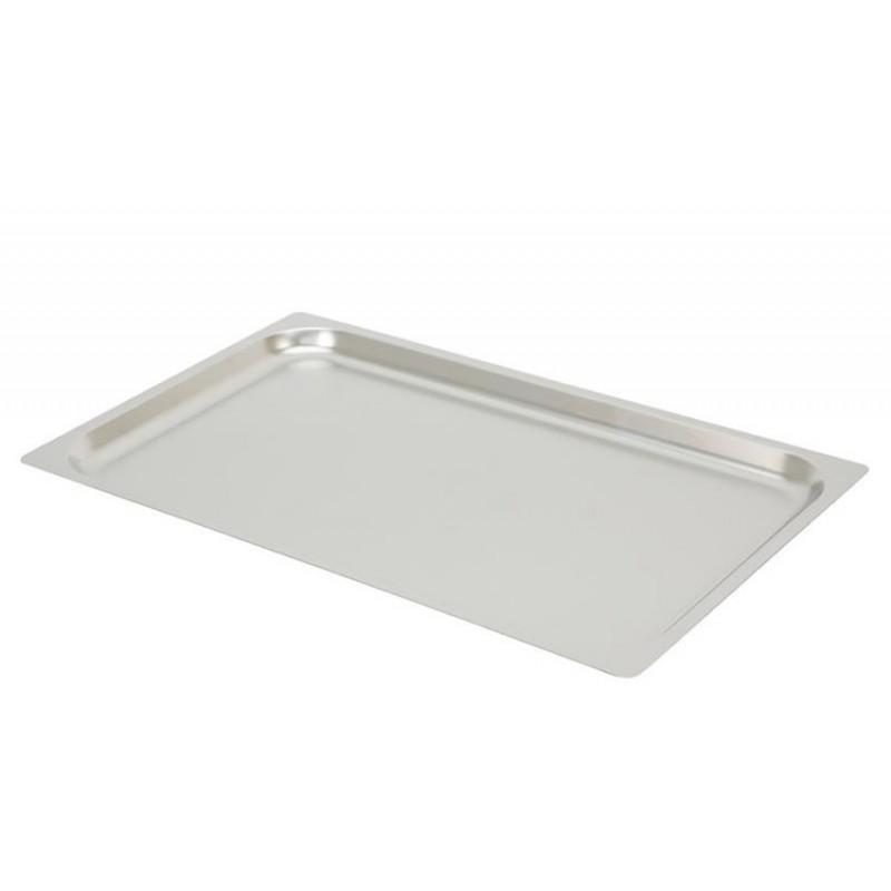 Plaques inox pleines GN1/1 à bords plats pour four à convection hauteur 20 mm