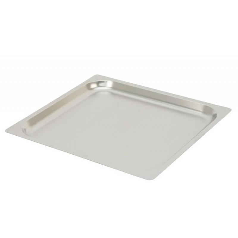 Plaques inox pleines GN2/3 à bords plats pour four à convection hauteur 20 mm