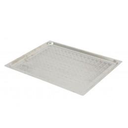 Plaques inox perforées GN2/1 à bords plats pour four à convection hauteur 20 mm