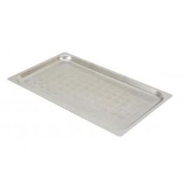 Plaques inox perforées GN1/1 à bords plats pour four à convection hauteur 20 mm