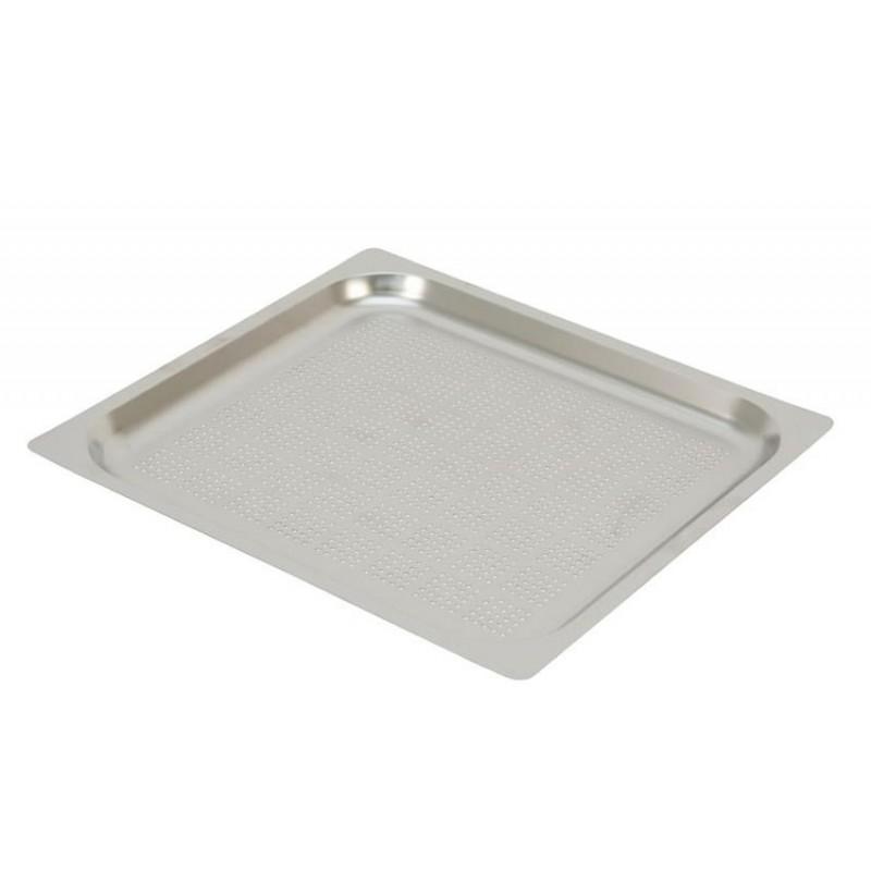 Plaques inox perforées GN2/3 à bords plats pour four à convection hauteur 20 mm