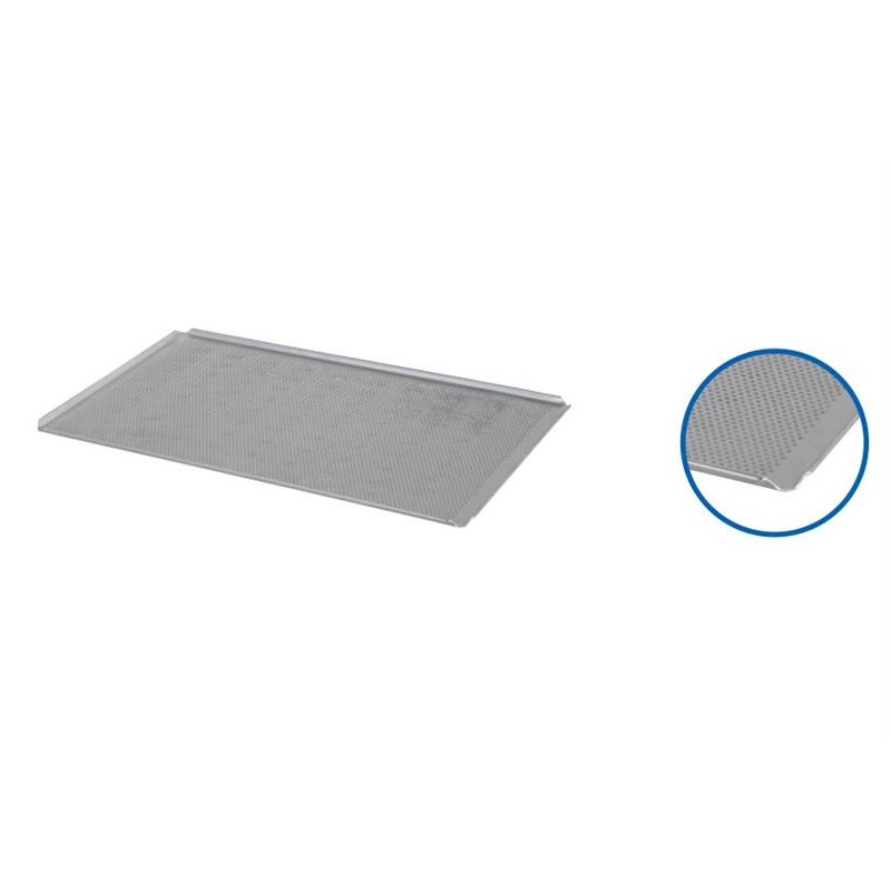 Plaque de four 600 x 400 x 10 mm 4 coins ouverts perforée