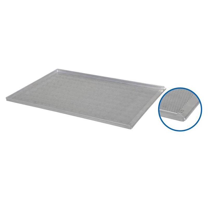 Plaque de four 800 x 600 x 23 mm perforée 3 BORDS + 1 incliné aluminium