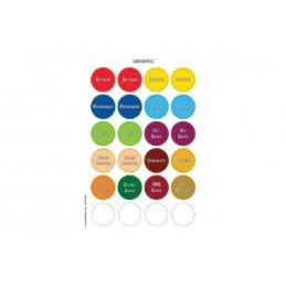 Feuillres avec 24 étiquettes colorées