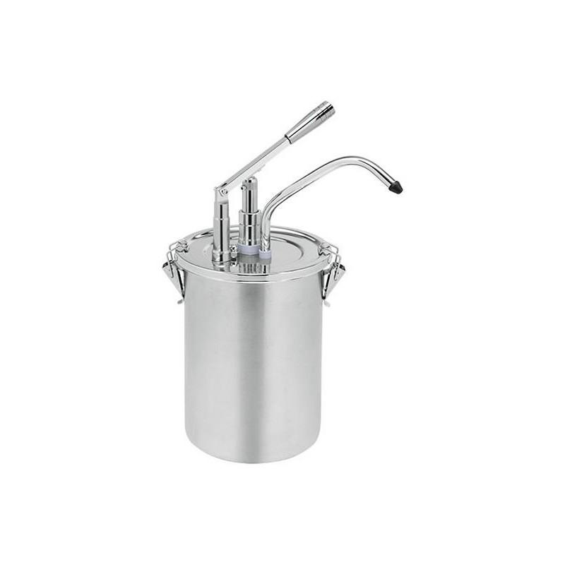 Pompe à sauce en inox avec récipient de 4.5 litres avec couvercle