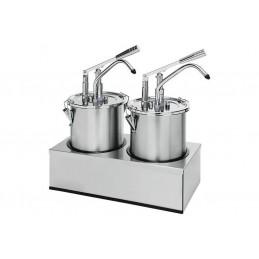 Pompe à sauce en inox double avec récipient de 4.5 litres avec couvercle