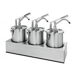 Pompe à sauce en inox triple avec récipient de 4.5 litres et couvercle
