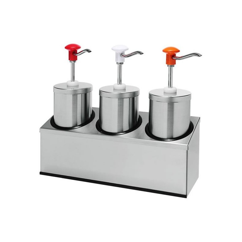 Pompe à sauce triple standard 2.25 litres en inox