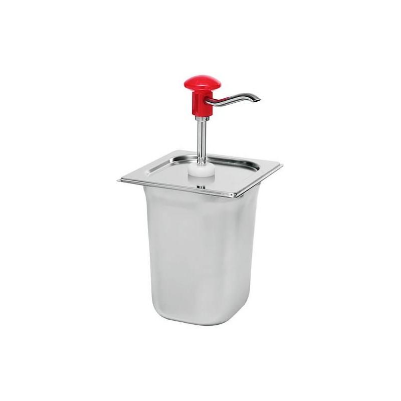Pompe à sauce gastronorme en inox avec récipient 2.5 litres