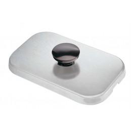 Couvercle inox avec bouton pour bacs à sauces.