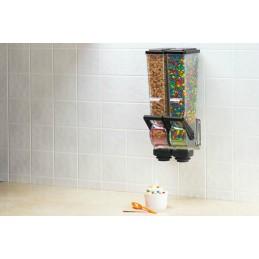 Distributeur double d'aliments secs 2 litres pour magasin : mise en situation dans une cuisine.