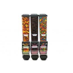 Distributeur triple d'aliments secs 2 litres pour magasin face avant.