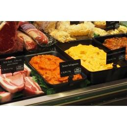 Pique plastique pour étiquettes sur les plats en vitrine