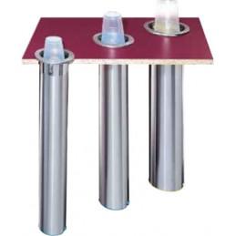 Distributeur de gobelet horizontal à encastrer 56-81 mm, différentes utilisations.