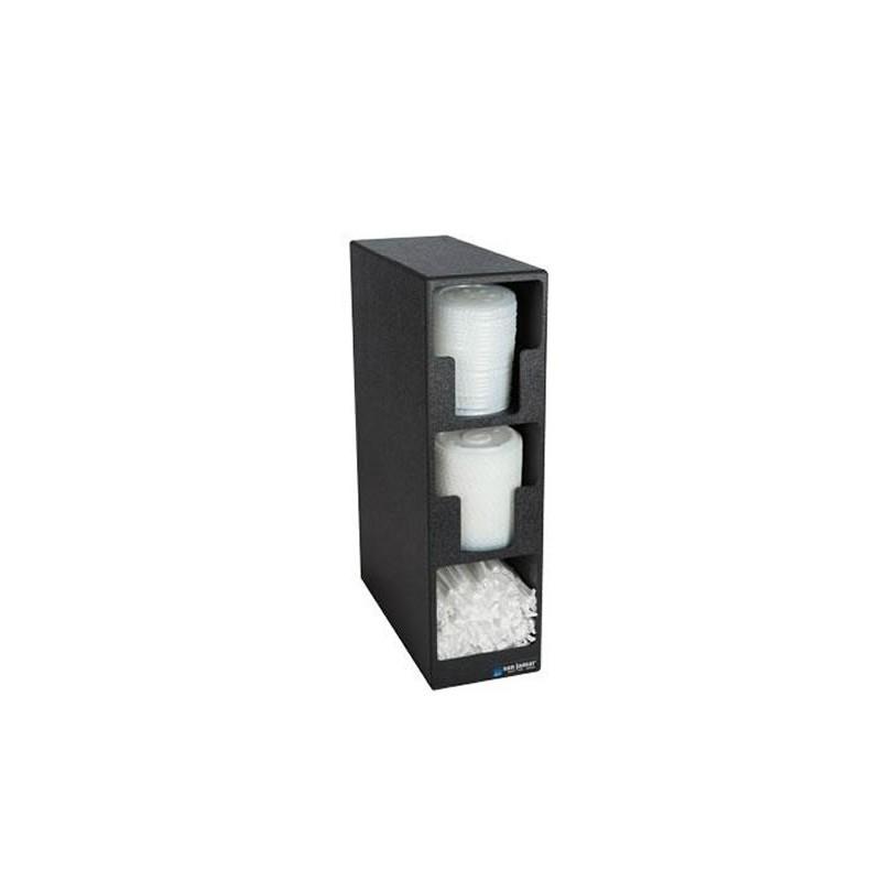 Distributeur pour couvercles de gobelets à 2 compartiments