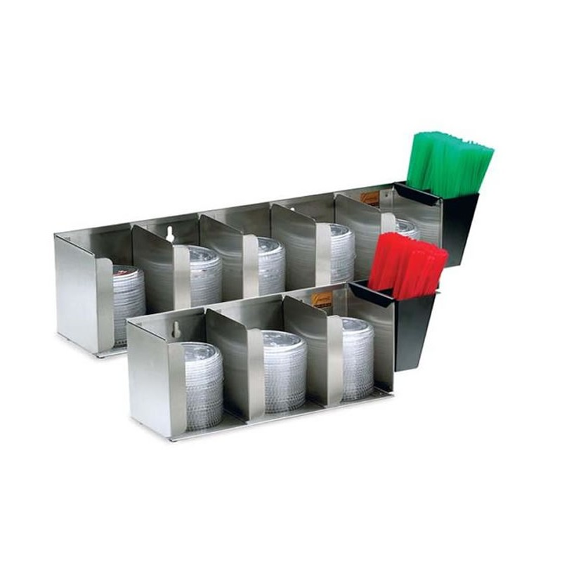 Distributeur de couvercle et de pailles 3 compartiments.