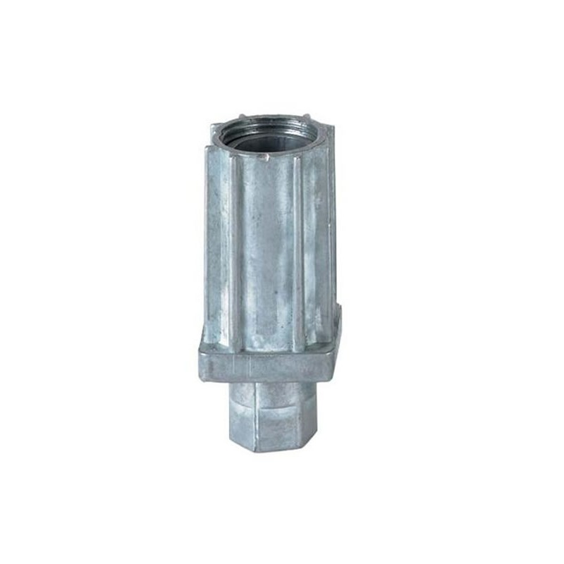 Vérins réglables pour tubes carrés de 30 mm zamac naturel.