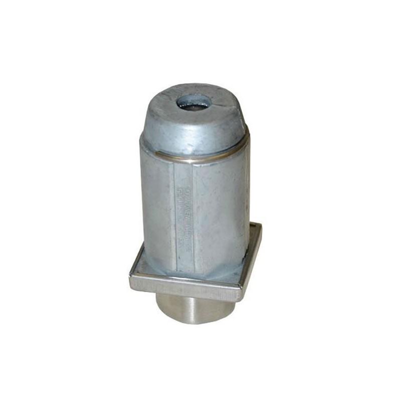 Vérin réglable pour tubes carré de 50 mm en zamac naturel.