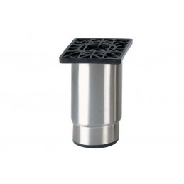 Pieds réglables en inox ECO LINE 115 mm - plaque ABS avec semelle synthétique noire.