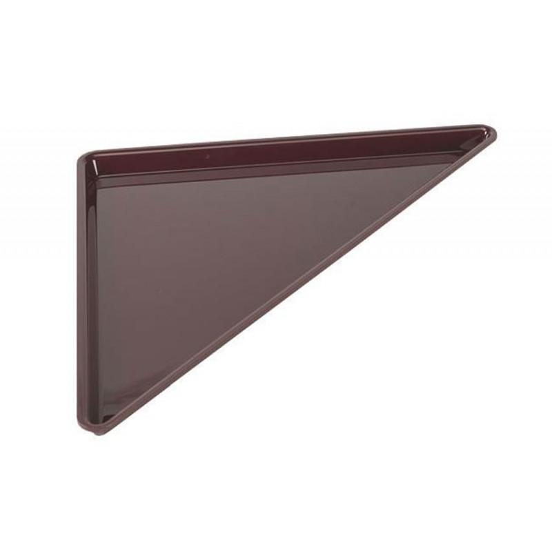 Plat grand triangle en plexi 400 mm pour vitrine couleur bordeaux