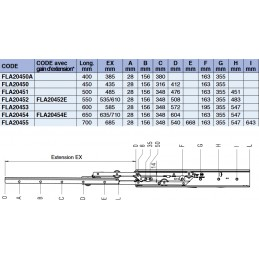 Coulisse de tiroir différentielle charge 68 kg : tableau des différents modèles.