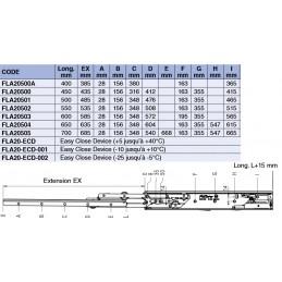 Coulisse de tiroir différentielle extension complète charge 68 kg : tableau des différents modèles