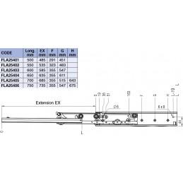 Coulisse de tiroirs différentielle capacité 120 kg : tableau des différents modèles.