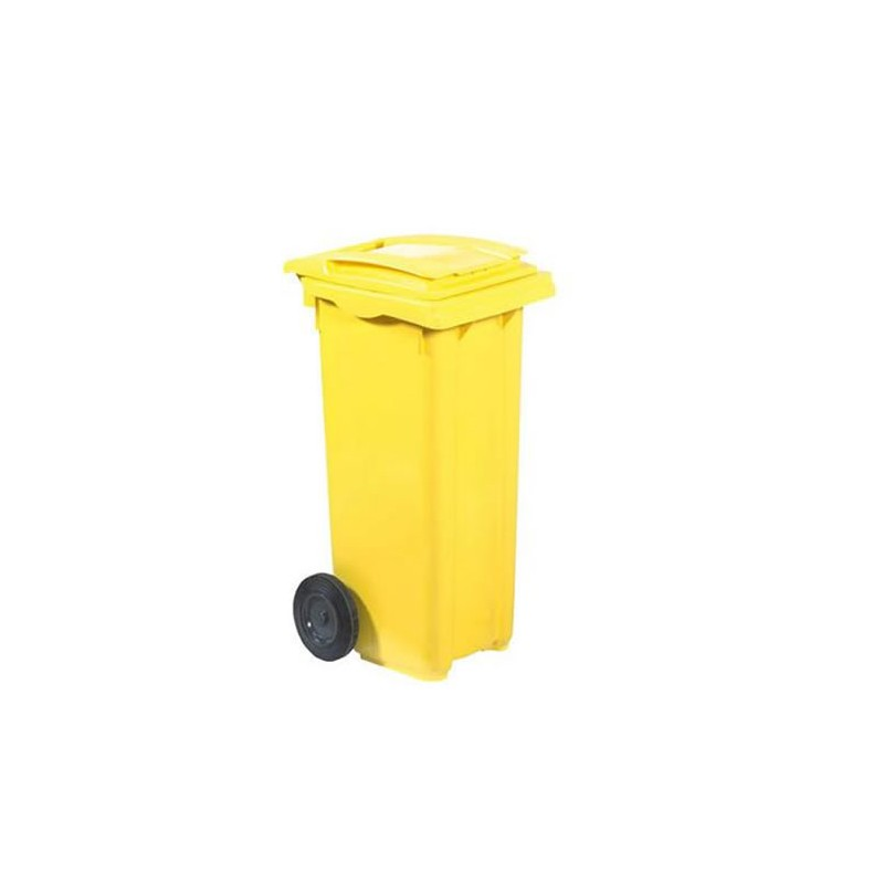 Conteneur à déchets sur roues 120 litres jaune