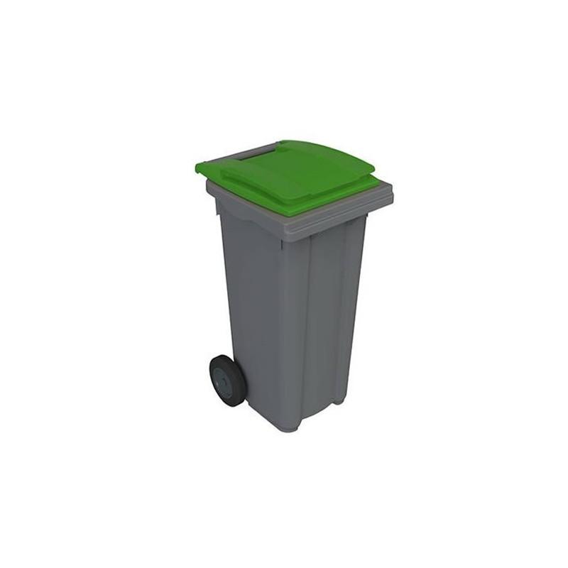 Conteneur à déchets 120 litres sur roues avec couvercles de couleur verte.