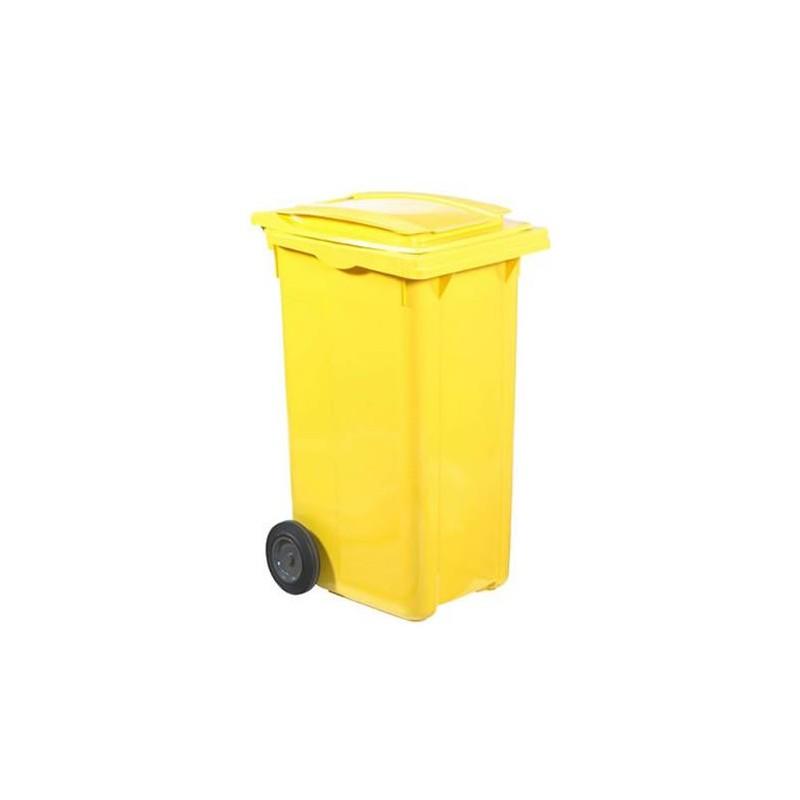 Conteneur à déchets sur roues 240 litres couleur jaune.
