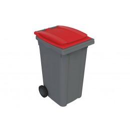 Conteneur 240 litres gris sur roues avec couvercle de couleur rouge.