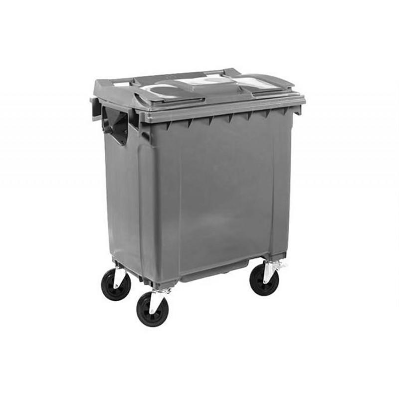 Conteneur à déchets 4 roues pivotantes 770 litres couleur gris.