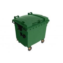 Conteneur à déchets 4 roues pivotantes 1100 litres couvercle plat couleur vert.