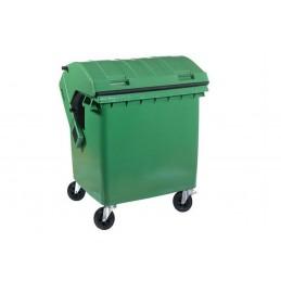 Conteneur à déchets 4 roues pivotantes 1100 litres vert