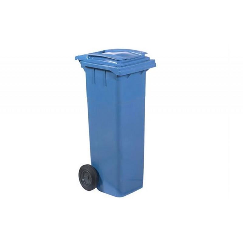 Conteneur à déchets 140 litres sur roues bleu