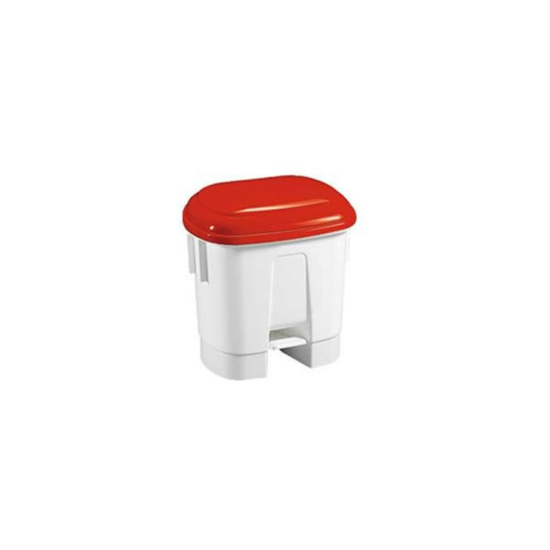 Poubelle à pédale 30 litres avec couvercle couleur rouge