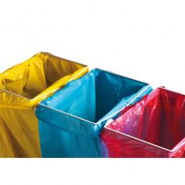 Support de sac mobile pour le tri sélectif : exemple de mise en place avec sacs.