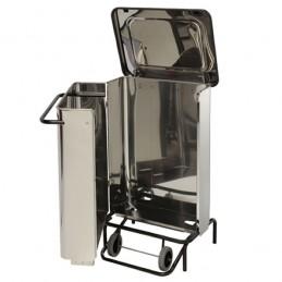 Conteneur à déchets mobile inox à pédale avec ouverture frontale ouverte.