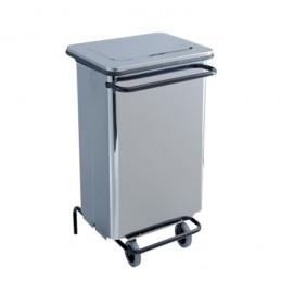 Conteneur à déchets inox brillant 70 litres à pédale.