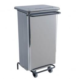 Conteneur à déchets inox brillant 110 litres à pédale