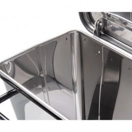 Conteneur à déchets anti-feu inox 70 litres à pédale : vue intérieure.