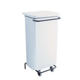 Conteneur mobile acier 110 litres à pédale de couleur blanche.