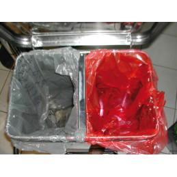 Séparateur intérieur support sac poubelle en inox une fois mis en place.