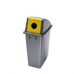 Corbeille de tri jaune avec couvercle ouverture frontale 60 litres.