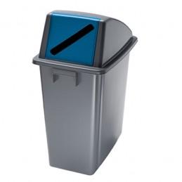 Corbeille de tri bleu avec couvercle ouverture frontale 60 litres