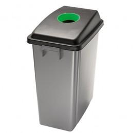 Corbeille de tri avec couvercle vert ouverture supérieure 60 litres