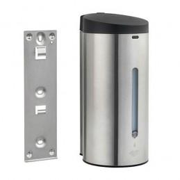 Distributeur de savon et gel automatique en inox avec plaque de fixation fournie.