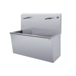 Vasque inox avec robinet infrarouge et mitigeur thermostatique.