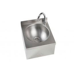 Lave-main en inox avec cuve ronde de 250 mm sans dos